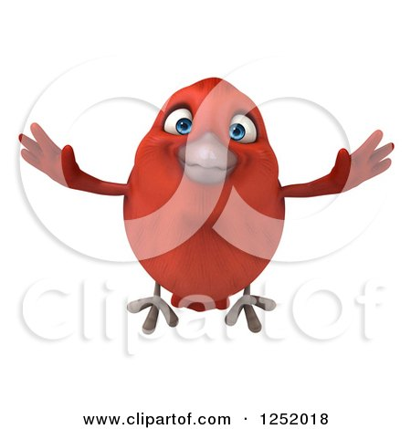 Clipart of a 3d Happy Red Bird Flying - Royalty Free Illustration by Julos