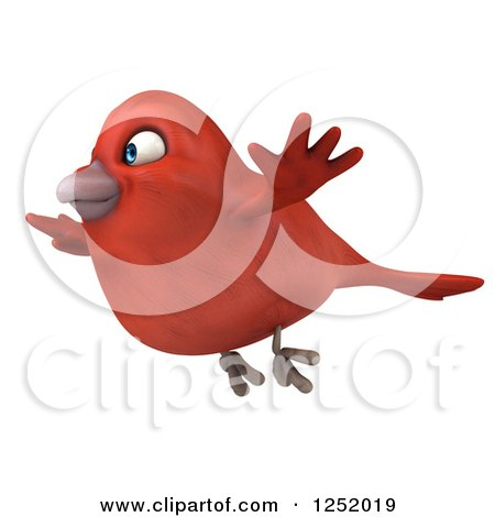Clipart of a 3d Happy Red Bird Flying 2 - Royalty Free Illustration by Julos