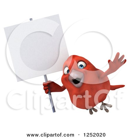Clipart of a 3d Happy Red Bird Flying with a Blank Sign - Royalty Free Illustration by Julos