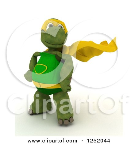 Clipart of a 3d Super Hero Tortoise Posing - Royalty Free Illustration by KJ Pargeter