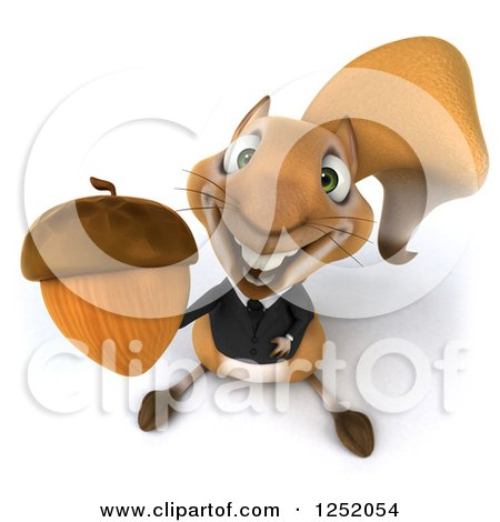 Clipart of a 3d Business Squirrel Holding up an Acorn - Royalty Free Illustration by Julos