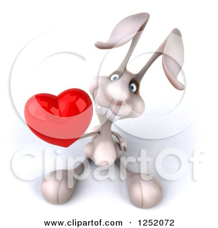 Clipart of a 3d White Bunny Rabbit Holding a Heart - Royalty Free Illustration by Julos
