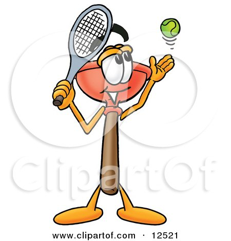 Clipart Picture of a Sink Plunger Mascot Cartoon Character Preparing to Hit a Tennis Ball by Toons4Biz