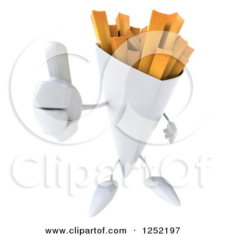 Clipart of a 3d French Fries Character Holding a Thumb up - Royalty Free Illustration by Julos