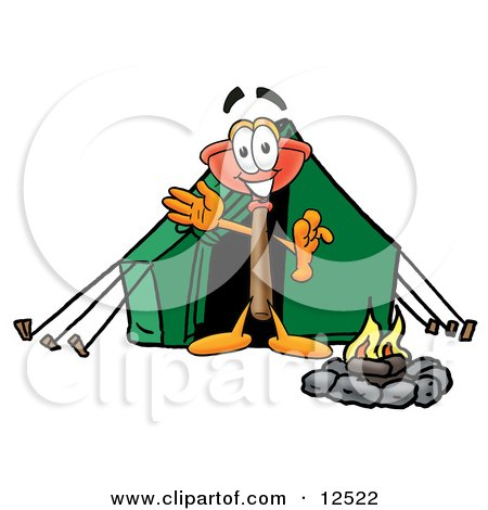 Clipart Picture of a Sink Plunger Mascot Cartoon Character Camping With a Tent and Fire by Toons4Biz