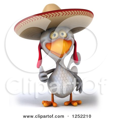 Clipart of a 3d White Mexican Chicken Holding a Thumb up - Royalty Free Illustration by Julos