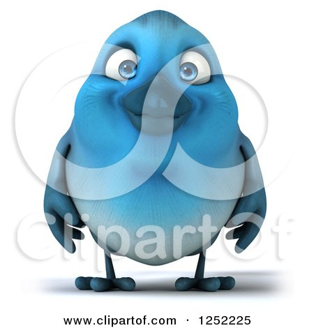 Clipart of a 3d Blue Bird - Royalty Free Illustration by Julos