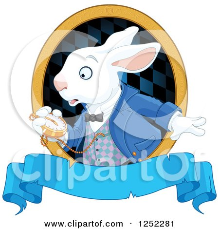 Clipart of the White Rabbit of Wonderland Looking at His Watch over a Blue Banner - Royalty Free Vector Illustration by Pushkin