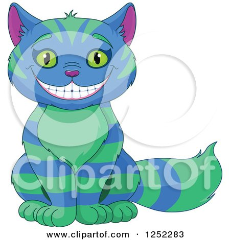 Clipart of a Grinning Striped Blue and Green Cheshire Cat - Royalty Free Vector Illustration by Pushkin