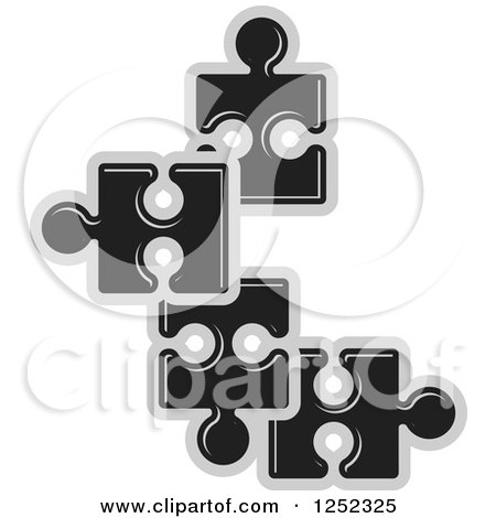 Clipart of Black and Gray Jigsaw Puzzle Pieces - Royalty Free Vector Illustration by Lal Perera