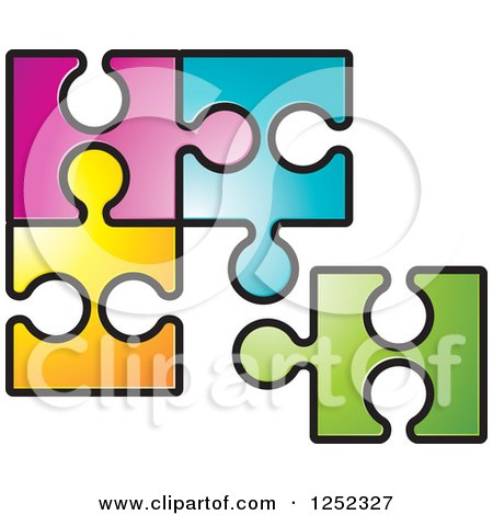 Clipart of Colorful Jigsaw Puzzle Pieces - Royalty Free Vector Illustration by Lal Perera