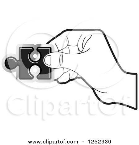 Clipart Of A Black And White Hand Holding Jigsaw Puzzle Piece