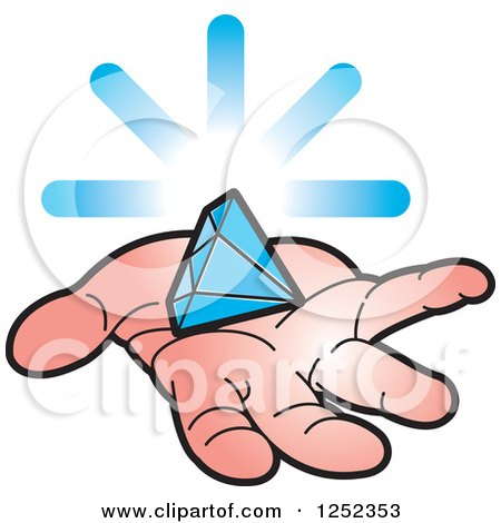 Clipart of a Hand Holding a Blue Diamond - Royalty Free Vector Illustration by Lal Perera