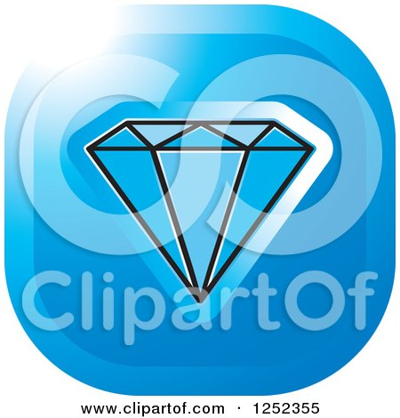 Clipart of a Blue Diamond Icon - Royalty Free Vector Illustration by Lal Perera