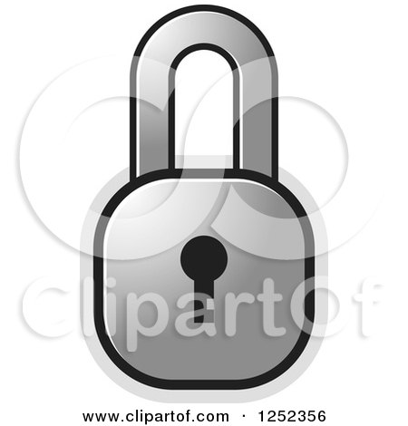 Clipart of a Silver Locked Padlock - Royalty Free Vector Illustration by Lal Perera