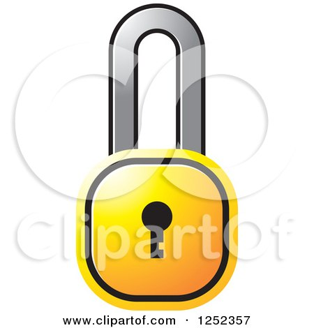 Clipart of a Yellow Locked Padlock - Royalty Free Vector Illustration by Lal Perera