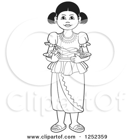 Clipart of a Black and White Girl with Sinhala Sweets - Royalty Free Vector Illustration by Lal Perera