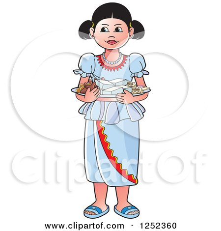 Clipart of a Girl with Sinhala Sweets - Royalty Free Vector Illustration by Lal Perera