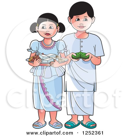 Clipart of Children with Sinhala Sweets and Betel - Royalty Free Vector Illustration by Lal Perera