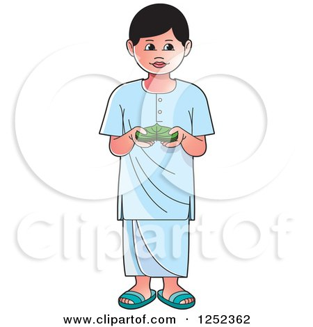Clipart of a Boy with Sinhala Betel - Royalty Free Vector Illustration by Lal Perera