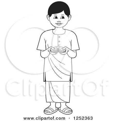 Clipart of a Black and White Boy with Sinhala Betel - Royalty Free Vector Illustration by Lal Perera