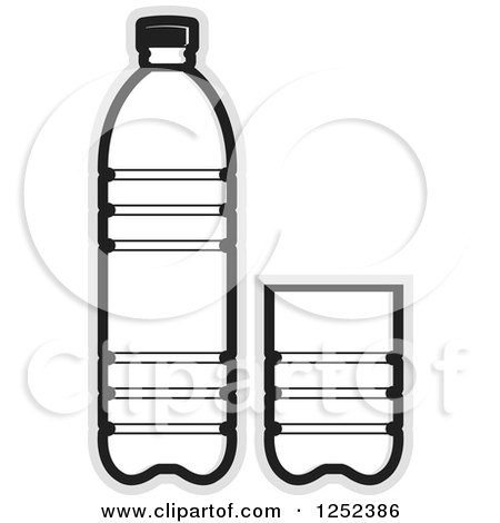 Clipart of a Black and White Water Bottle and Cup and Gray ...  Clipart of a Bl...