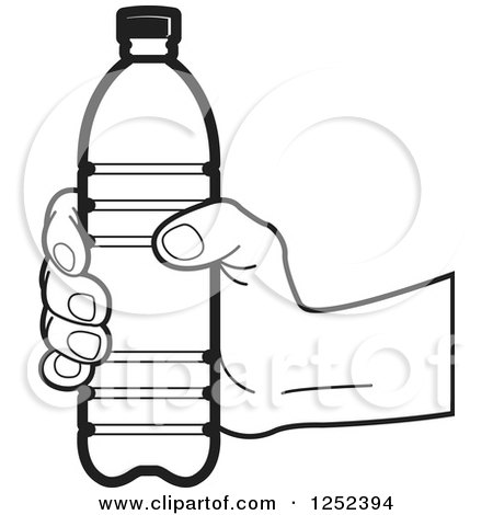 Clipart of a Black and White Hand Holding a Water Bottle ...