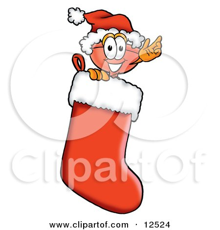 Clipart Picture of a Sink Plunger Mascot Cartoon Character Wearing a Santa Hat Inside a Red Christmas Stocking by Toons4Biz