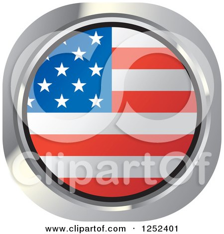 Clipart of a Round American Flag Icon - Royalty Free Vector Illustration by Lal Perera