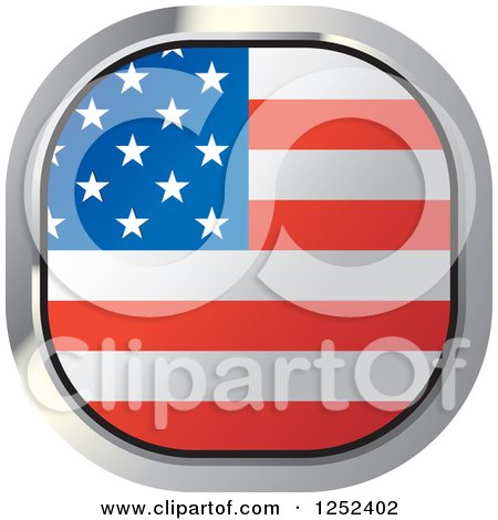Clipart of a Square American Flag Icon - Royalty Free Vector Illustration by Lal Perera