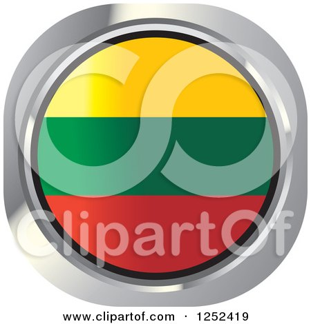 Clipart of a Round Lithuanian Flag Icon - Royalty Free Vector Illustration by Lal Perera