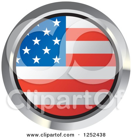 Clipart of a Round American Flag Icon 2 - Royalty Free Vector Illustration by Lal Perera