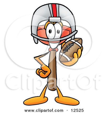 Clipart Picture of a Sink Plunger Mascot Cartoon Character in a Helmet, Holding a Football by Toons4Biz