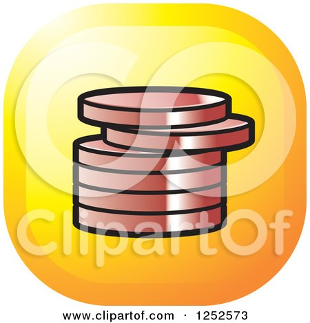 Clipart of a Stack of Bronze Coins Icon - Royalty Free Vector Illustration by Lal Perera