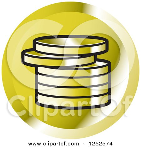 Clipart of a Stack of Gold Coins Icon - Royalty Free Vector Illustration by Lal Perera