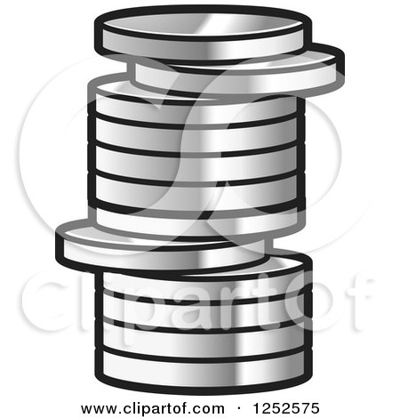 Clipart of a Stack of Silver Coins - Royalty Free Vector Illustration by Lal Perera