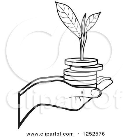 Clipart of a Black and White Hand Holding a Stack of Coins and a Seedling - Royalty Free Vector Illustration by Lal Perera