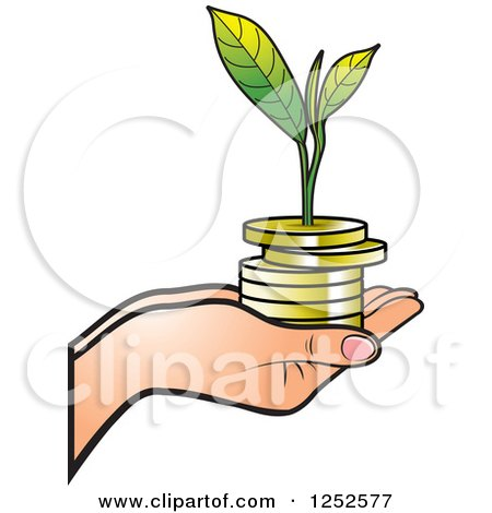 Clipart of a Hand Holding a Stack of Gold Coins and a Seedling - Royalty Free Vector Illustration by Lal Perera
