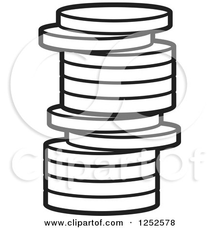 Clipart of a Black and White Stack of Coins - Royalty Free Vector Illustration by Lal Perera