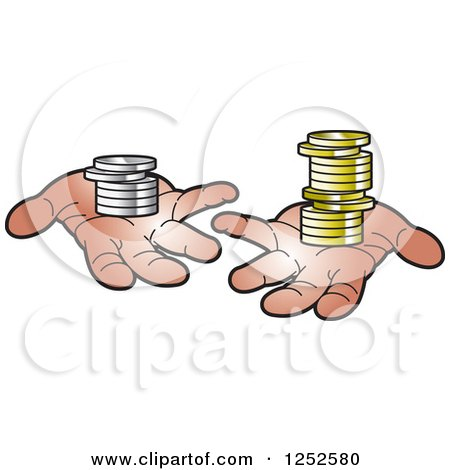 Clipart of Hands Holding Coins - Royalty Free Vector Illustration by Lal Perera