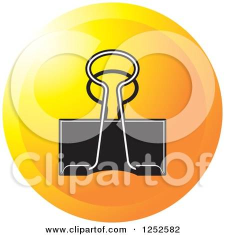 Clipart of a Round Orange Binder Clip Icon - Royalty Free Vector Illustration by Lal Perera