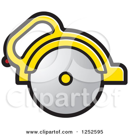 Clipart of a Yellow Handled Circular Saw - Royalty Free Vector Illustration by Lal Perera