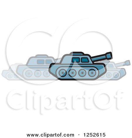 Clipart of a Blue Military Tank in Motion - Royalty Free Vector Illustration by Lal Perera
