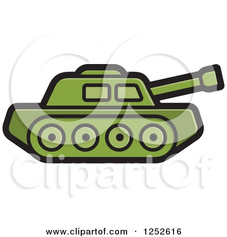 Clipart of a Green Military Tank - Royalty Free Vector Illustration by Lal Perera
