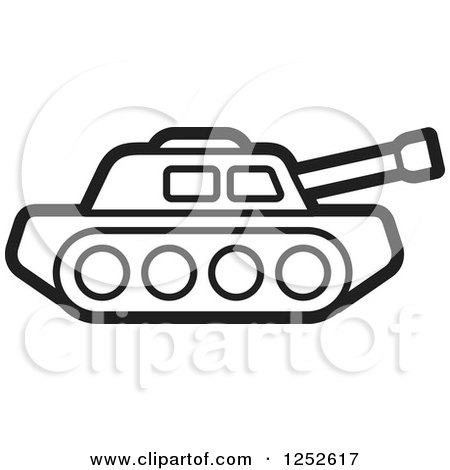 Clipart of a Black and White Military Tank - Royalty Free Vector Illustration by Lal Perera