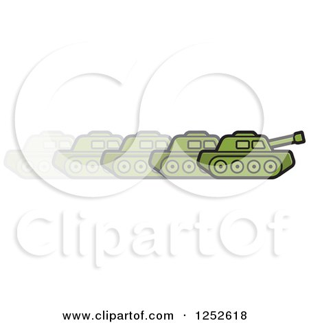 Clipart of a Green Military Tank in Motion - Royalty Free Vector Illustration by Lal Perera