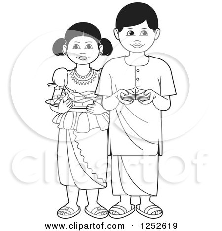 Clipart of Black and White Children with Sinhala Sweets and Betel - Royalty Free Vector Illustration by Lal Perera