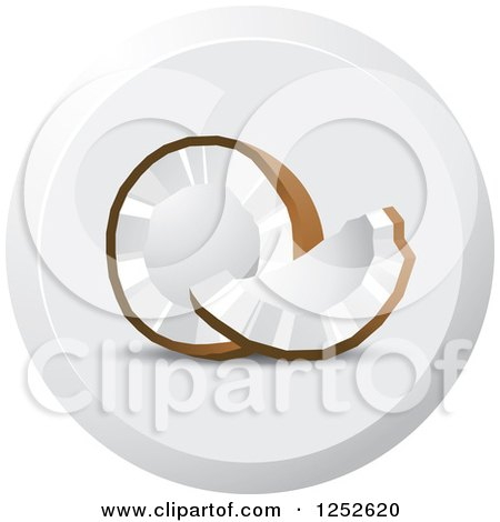 Clipart of a Round Coconut Icon - Royalty Free Vector Illustration by Lal Perera