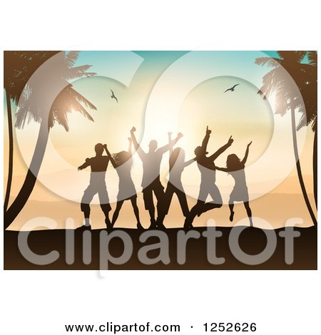 Clipart of Silhouetted People Dancing on a Beach with Palm Trees and Gulls at Sunset - Royalty Free Vector Illustration by KJ Pargeter