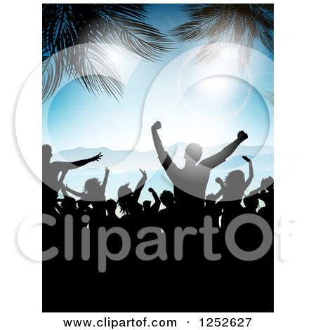 Clipart of Silhouetted People Dancing on a Beach with Palm Trees and Flares - Royalty Free Vector Illustration by KJ Pargeter